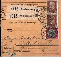 ! 1934 Paketkarte Deutsches Reich Aus Nordhausen Nach Dittichenrode - Germania