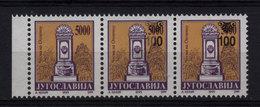 13. Yugoslavia 1993 100d/5000d One Stamp Without Surcharge Strip Of 3 MNH - 1992-2003 Sozialistische Republik Jugoslawien
