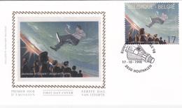 FDC Sur Soie/op Zijde -  B.D. - F. Schuiten - Navigation Spatiale - Timbre N°2786 -  FDC 1998 - Oblitération Houthalen - 1991-00