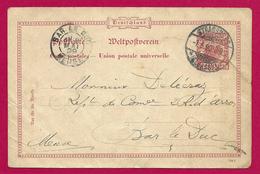 Carte Postale Non Illustrée - Voyagée En 1899 De Strasbourg Capitale Du Reichsland Vers Bar Le Duc Dans La Meuse - Allemagne