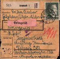 ! 1943 Paketkarte Deutsches Reich Aus Arnstadt Nach Leipzig - Allemagne