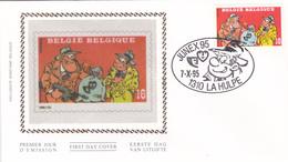 FDC Sur Soie/op Zijde -  B.D. - Sammy - Timbre N°2619 -  FDC 1995 - Oblitération La Hulpe - 1991-00