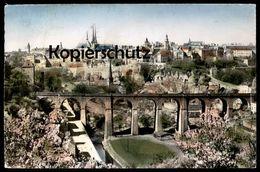 ÄLTERE POSTKARTE LUXEMBOURG VUE GÉNÉRALE 1955 ROSA KIRSCHBLÜTE GRUND LUXEMBURG Cpa Postcard Ansichtskarte AK - Luxemburg - Stadt
