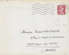 Enveloppe T.S.C. (1960 G1b Int. Bleu) 0,25 Rouge (M. De Muller), Commandée Par R. Bloch à Metz, Obl. Metz Le 24/10/60 - Enteros Postales