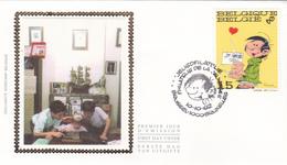 FDC Sur Soie/op Zijde -  B.D. - Gaston Lagaffe - Timbre N°2484 -  FDC 1992 - Oblitération Brussel/Bruxelles - 1991-00