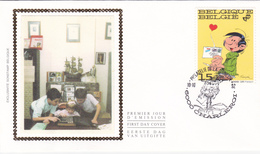 FDC Sur Soie/op Zijde -  B.D. - Gaston Lagaffe - Timbre N°2484 -  FDC 1992 - Oblitération Charleroi - 1991-00