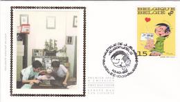 FDC Sur Soie/op Zijde -  B.D. - Gaston Lagaffe - Timbre N°2484 -  FDC 1992 - Oblitération Bruxelles/Brussel - 1991-00