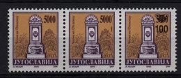 14. Yugoslavia 1993 100d/5000d Two Stamps Without Surcharge Strip Of 3 MNH - 1992-2003 Sozialistische Republik Jugoslawien