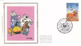 FDC Sur Soie/op Zijde -  B.D. - Cubitus / Dommel - Timbre N°2578 -  FDC 1994 - Oblitération Saint-Mard - 1991-00