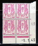 France 1945 Yvert 672 ** TB Coin Date - 1940-1949