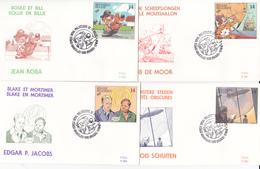 B.D. Série De 4 FDC De Personnages De Bandes Dessinées - Timbres N°2428/31 -  1991 - Oblitération Bruxelles/Brussel - 1991-00