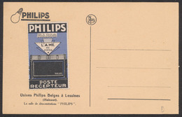 """Carte Postale - Usines Philips Belges à Lessines : Salle De Démonstration + Vignette Privée """"Philips Radio"""" / Lampe - Ambachten"""