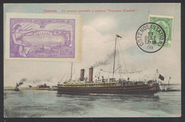 """Carte Postale - Ostende : Le Nouveau Paquebot """"Princesse Elisabeth + Vignette Exposition Internationale De L'art (1907)"""" - Oostende"""