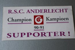 Autocollant Neuf Du R.S.C. ANDERLECHT Champion En 1990/91 - Vieux Papiers