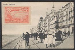 """Carte Postale - Ostende : La Digue + Vignette """"Ostende - Bains De Mer"""" (rouge) Et Bruxelles Expo 1910 / Voyagée. - Oostende"""