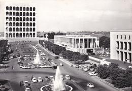 ROMA EUR - PALAZZO DELLA CIVILTA' DEL LAVORO - FONTANE - AUTO - 1961 - Expositions