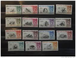 Falkland Islands 1960-1966 Oiseaux Vogels Birds Elisabeth II Yv 122-136 Mi 123-137 MNH ** - Falkland