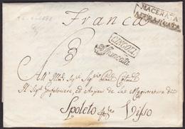 1838. MACERATA A SPOLETO. MARCA MACERATA/AFFRANCATA. MARCA FRANCA CUÑO Y MNS. PRECIOSA Y MUY RARA. COMPLETA. - 1. ...-1850 Vorphilatelie