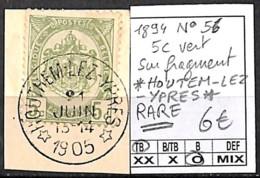 D - [844457]TB//O/Used-Belgique 1894 - N° 56, Relais (étoiles) *HOUTHEM-LEZ-YPRES*, RARE, Armoiries - Poststempel