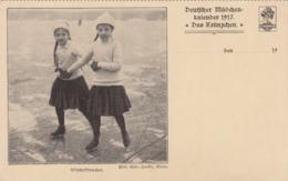 AK - Deutscher Mädchenkalender - 1917 - Das Kränzchen - WINTERFREUDEN - Werbepostkarten