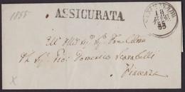 1855. SENESTIA A PIACENZA. FECHADOR PEQUEÑO. MARCA LINEAL ASSICURATA. LACRADOR DE CERTIFICADO DE CIERRE. ENVUELTA. - 1. ...-1850 Vorphilatelie