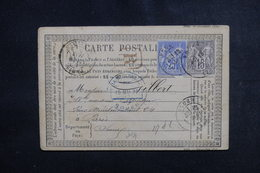 FRANCE - Carte Précurseur En Recommandé De Rouen Pour Paris En 1877, Affranchissement Sages 25ct + 15ct - L 51191 - Ganzsachen