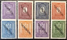 SERBIA UNDER GERMAN OCCUPATION 1941 - MLH - Mi 1-8 - PORTO Complete Set! - Ocupación 1938 – 45