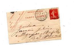 1/2 Carte Lettre 10 C Semeuse Cachet Peypin - Biglietto Postale