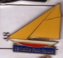 X48 Pin's Bateau Voilier 2 Jonq Véritable Petit Navire Tapioca Tipiak Saint-Aignan-Grandlieu Loire Achat Immédiat - Boats