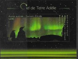 TAAF ,  FRENCH ANTARCTIC, 2020, MNH, BIRDS, PENGUINS, POLAR SKIES,  S/SHEET - Filatelia Polar