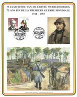 Belgium 1975 COB 1758 Mi. 1810 On Commemoration Card 1-Aug-1993 Nieuwpoort, WW1 Ending 75 Year Ago, King Albert I - Souvenir Cards