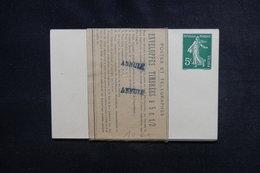 """FRANCE - Rare - Liasse De 10 Entiers Postaux Type Semeuse Avec Bande De Confection - Cachet """" Annulé """" - L 51201 - Postal Stamped Stationery"""