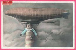 """Cp Montage - Le Dirigeable La Patrie - Bébé - """" Allo, Alo, Voulez Vous Me Revoir ? """" - 1907 - Patriotic"""