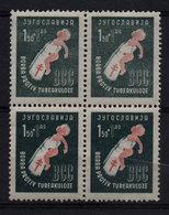 22. Yugoslavia 1948 Tuberculosis Red Cross, Shade Varieties Block Of 4 MNH - 1945-1992 Socialistische Federale Republiek Joegoslavië