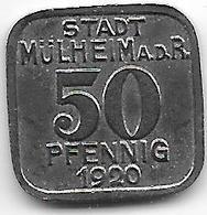 *notgeld Muhlheim 50 Pfennig 1920 Fe  344.6 - [ 2] 1871-1918 : Empire Allemand