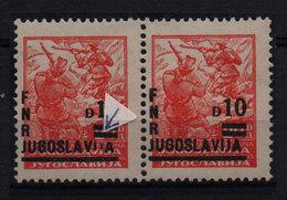 24. Yugoslavia 1949 MNH 10d/20d Partisan Print Variety MNH - Unused Stamps