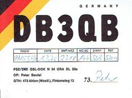 QSL - GERMANY - DB3QB - PETER BEUTEL -  AHLEN - 1975 - Radio Amateur