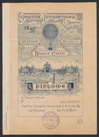 "Bruxelles Exposition International 1897 : Diplôme ""Ballon Captif - Ascension"" / Neuf, 2 Plis. - Diplome Und Schulzeugnisse"
