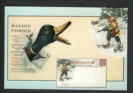 Winchester Hazard Powder Ad - Duck Man Snow Shoes Rifle Gun Hunting Hunter NEW Postcard - Hunting