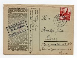 !!! PRIX FIXE: CAMP DE CONCENTRATION DE DACHAU, LETTRE DU 8/8/1941 POUR LA POLOGNE. TEXTE A L'INTERIEUR - Storia Postale