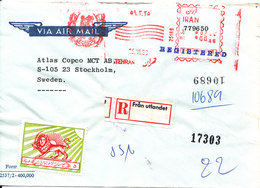 Iran Registered Air Mail Bank Cover With Meter Cancel And A Stamp Sent To Sweden 15-6-1980 (Bank Melli Iran) - Iran