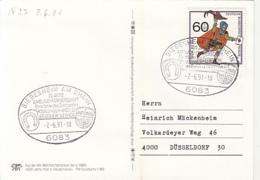 84509- BIEBESHEIM AM RHEIN SISTER CITIES SPECIAL POSTMARK ON SPECIAL POSTCARD, MESSENGER STAMP, 1991, WEST GERMANY - Storia Postale