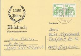 84541-HILSBACH VILLAGE ANNIVERSARY, SINSHEIM, SPECIAL POSTCARD, CASTLE STAMPS, 1990, WEST GERMANY - Storia Postale