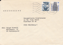 84565- FRANKFURT AIRPORT, FREIBURG CATHEDRAL, STAMPS ON COVER, 1990, WEST GERMANY - Storia Postale