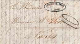 LAC CALCUTTA Inde 18/11/1853 à Nantes France Passe Marseille Cachet Rouge Paris Verso Taxe 100 - India (...-1947)