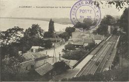 """LORMONT , Vue Panoramique Sur La Garonne + Cachet """" SERVICE DES G.V.C. Poste N°25 , 1915 , µ - Otros Municipios"""