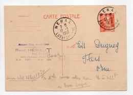 - Carte Postale MAISON HÉRAUT, NÉRAC Pour TISSAGES DUGUEY, FLERS (Orne) 17.1.1952 - 12 F. Orange Marianne De Gandon - - Cartes Postales Types Et TSC (avant 1995)
