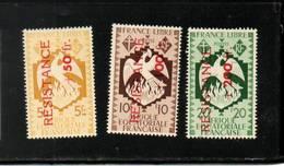 A. E. F.  NEUF Sans Charnière  N°  178/179/180    N**  France Libre Surchargés RESISTANCE  Cte: 37,20 € - A.E.F. (1936-1958)
