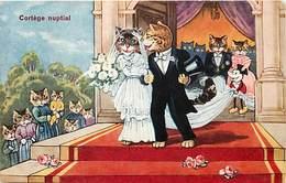 -themes Div.-ref-DD466- Chat- Chats Humanisés - Cats - Cat - Illustrateurs -illustrateur- Mariés Et Mickey Mouse - - Gatti
