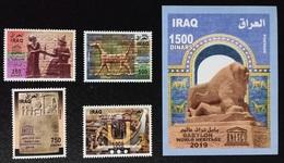 Iraq NEW 2020 Complete Set 4v. + 1 Block MNH Babylon UNESCO World Heritage, Lion - Irak